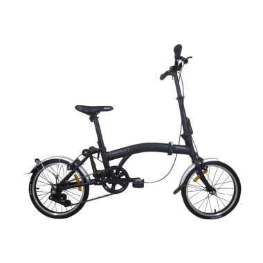 United Trifold Sepeda Lipat Interna ... Shimano - Hitam [16 Inch]