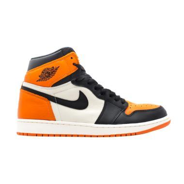 NIKE Men Air Jordan 1 Retro Shatter ... Black Orange [555088-005]