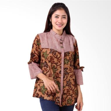 Batik Distro BA8798 Shanghai Floral Pendek Blus Wanita - Coklat
