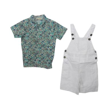 VERINA BABY Flowers Overall Tee Set ... k Perempuan - White Green