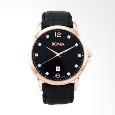 Bonia Leather Jam Tangan Pria - Rosegold  Black [BPT179-1537]