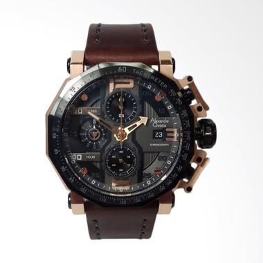 Alexandre Christie Chronograph Leat ... Black Rosegold [AC6373MC]
