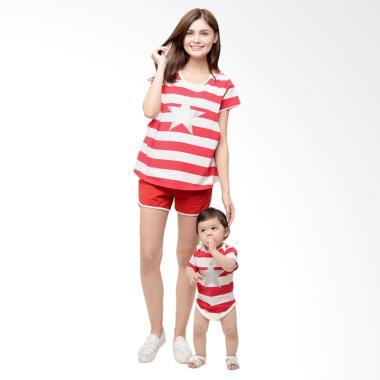 Mooimom Star Stripe Nursing Couple  ... sui Couple Ibu Anak - Red