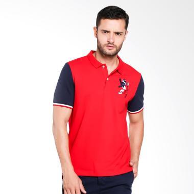 Giordano Union Jack Embroidery Polo Shirt Pria - Red [0101732274]