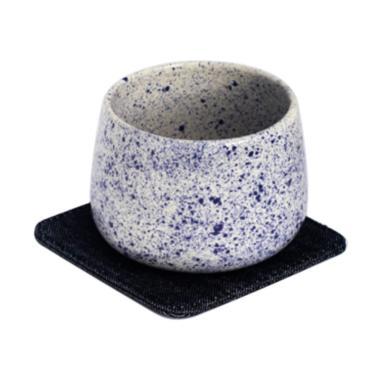 Kaloka Pottery Blue Sparkle Cup & Denim Saucer