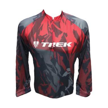 Dakine Trek Motif Army Lengan Panjang Baju Sepeda Unisex - Merah Hitam