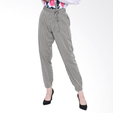 REE Stripe Office Pants Celana Wanita - Black White