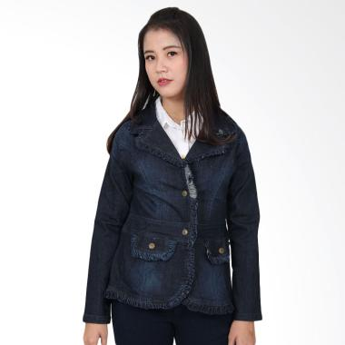 Adore Ladies Ruffle Jacket Jeans - Dark Blue