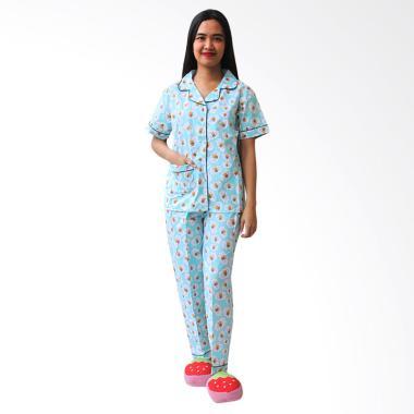 Aily BT022 Motif Bee Katun Jepang Setelan Baju Tidur Wanita - Biru