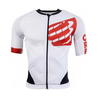 Compressport Men Cycling On-Off Maillot Pakaian Sepeda Pria - White