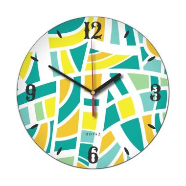 Odiaz Abstrak Jam Dinding - Kuning Biru