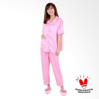 Okechuku CP Satin Baju Tidur Lengan Pendek Wanita - Pink