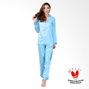 Okechuku Setelan Baju Tidur Lengan Panjang Wanita - PP Biru