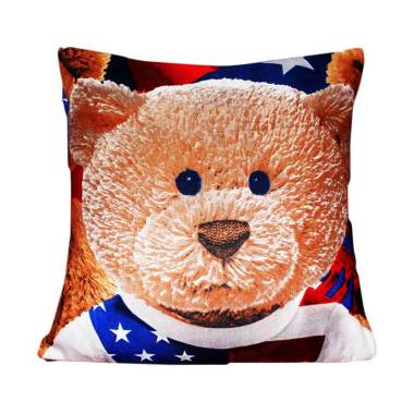 Monalisa Motif USA Bear Sarung Bantal Sofa [40 x 40 cm]