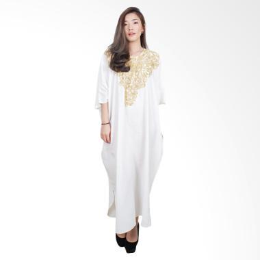 Macadamia House D7483 Gold Petal Gamis Long Dress Wanita - White