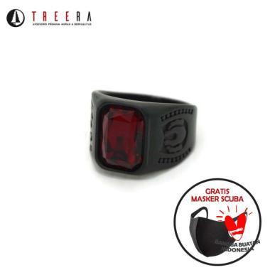 harga NECLORD cincin titanium pria batu merah keren original modern - Treera Size 8 Blibli.com