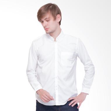 Tendencies Werk Plain White Kemeja Panjang Pria - Putih