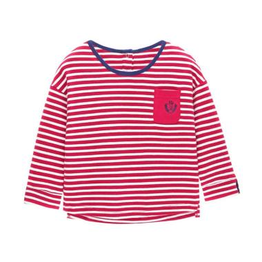 Mom n Bab Long Tee Claret Stripe Baju Atasan Anak - Red