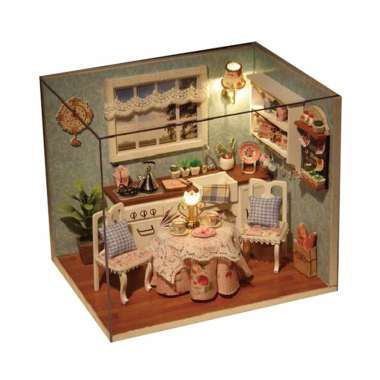 BT Happiness Court Small DIY Doll Room Miniature Furniture Wooden House Kit Wooden Dolls House Kit with Furniture and Accessories