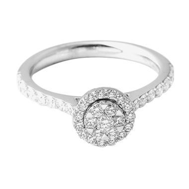 Lino P1701180007 Cincin Berlian Emas Putih [18K]