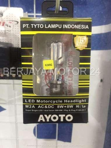 Lampu Depan LED Motor AYOTO M2A H6 AC-DC Lampu Putih Kuning Hitam