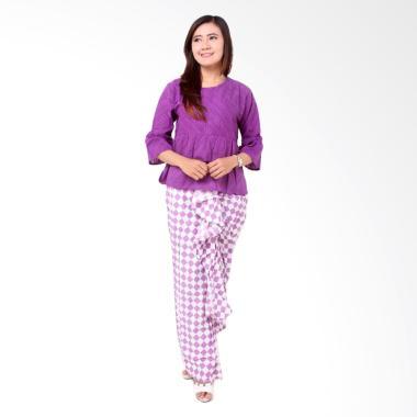 Batik Distro Embos BA8310 Setelan Pakaian Wanita - Ungu