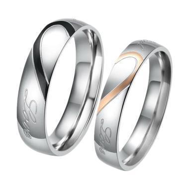 CDHJewelry CC003 Cincin Couple Titanium Anti Karat [Female 6 & Male 9]