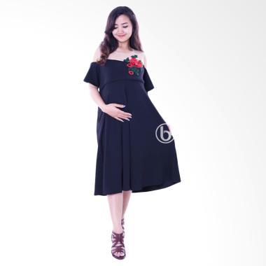Mama Hamil  Brokat Bunga Agatha Mod ...  H Dress Menyusui - Hitam