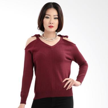 MKY Clothing Ribbon Long Sleeve Blouse Atasan Wanita - Maroon