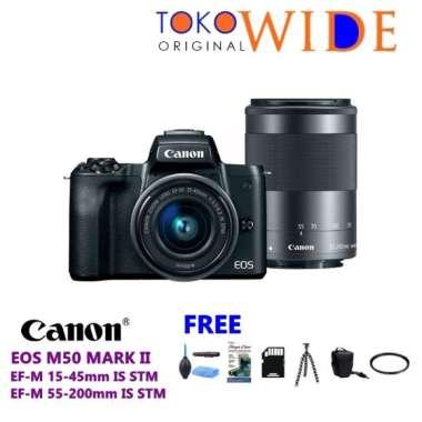 harga TOKO WIDE - CANON EOS M50 MARK II KIT 15-45/55-200MM - CAMERA CANON EOS M50 MARK II DOUBLE KIT - GARANSI RESMI BLACK Blibli.com
