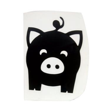 OEM Motif Pig Cute Mini Dekorasi To ... klar Wall Sticker - Hitam