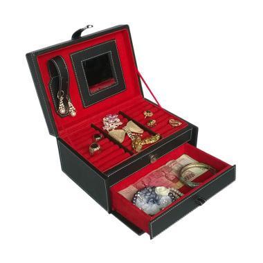 Bakul Etnik Kotak Tempat Cincin dan Perhiasan - Hitam