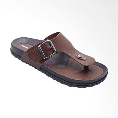 HOMYPED Navara Leather Sandal Pria - Brown 806