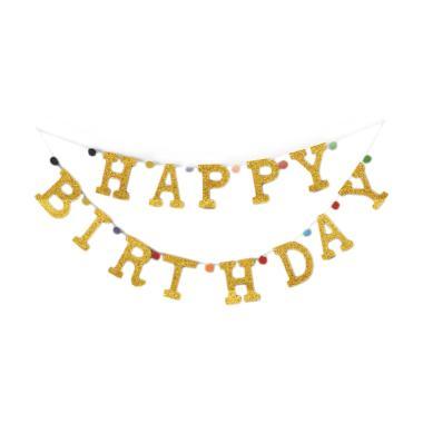 Balonasia Motif Shape Happy Birthday Banner Dekorasi Pesta - Gold