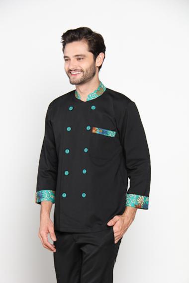 Chef Series Emerald Batik Tangan Panjang Baju Koki Hitam Hijau Size L