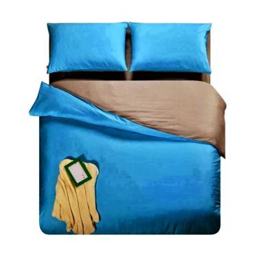 Ellenov Polos Set Sprei dan Bed Cover - Biru Abu