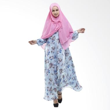 Zayani Alda Maxmara Satin Dress Gamis - Biru