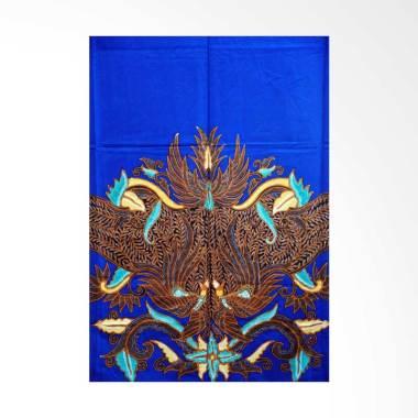 Batik Aksen Tropis Bahan Katun Satin Gurdo Pari Kain Batik - Biru