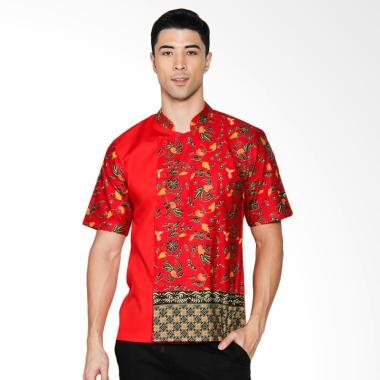 Chef Series Jade Batik Tangan Pendek Baju Koki - Merah [Size XL]