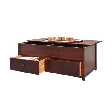 Livien Furniture Larenzo Desk Drawer Meja Tamu - Dark Brown