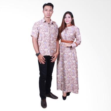 Batik Putri Ayu Solo SRG502 Batik Sarimbit Gamis Baju Batik - Coklat
