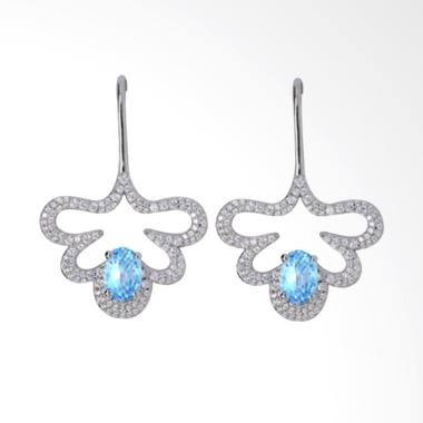 Gina Adornments Blue Topaz Silver Earring