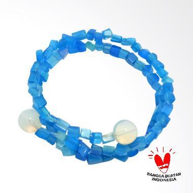 Vee Batu Blue Stone Lilit 3 Lapis Kombinasi Kalimaya Api Gelang Wanita