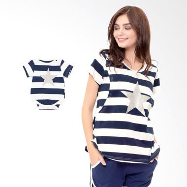 Mooimom Star Stripe Nursing Couple  ... ui Couple Ibu Anak - Navy
