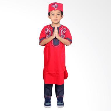 FAYRANY FKD-004A Baju Koko Pakistan Denim Anak - Merah