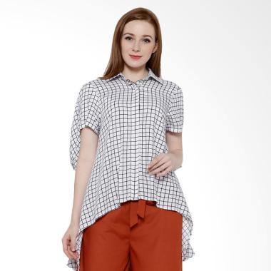 REE Plaid Handkerchief Shirt Kemeja Wanita - White Black