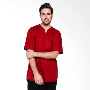 Papercut Men Fox V Slit Shirt Kemeja Lengan Pendek Pria - Maroon