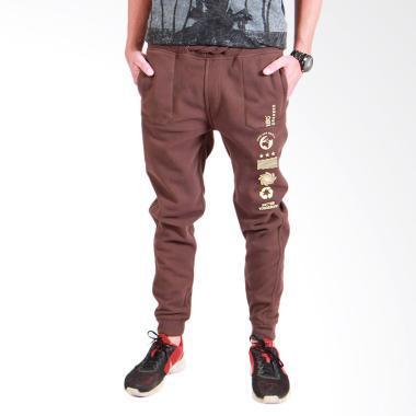 180 Degrees Jogger Pants With Print Pria - Coklat