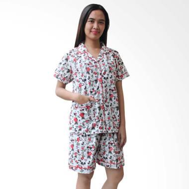 Aily BT030 Katun Jepang Motif Micke ... Baju Tidur Wanita - Putih
