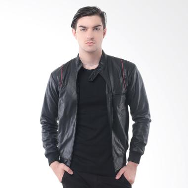 Crows Denim Exclusive Jaket Pria - Hitam Strip Merah